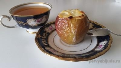 десерт из яблок с творогом