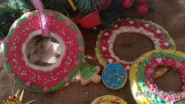 Новогоднее печенье с глазурью, лимонной цедрой и корицей