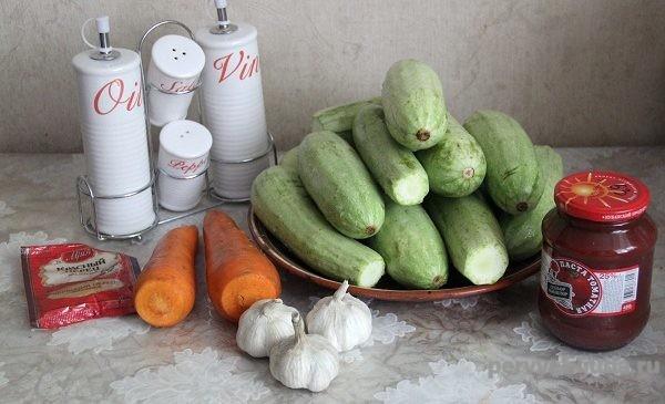 продукты для приготовления закуски из кабачков