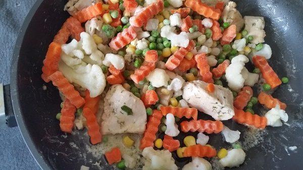 замороженные овощи в сковородке
