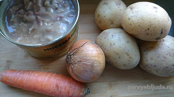 продукты для приготовления картофеля с тушенкой