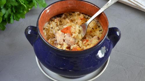 горшочек со свининой и рисом