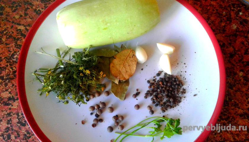ингредиенты для консервирования кабачков