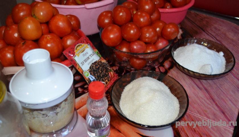 ингредиенты для консервации помидор под снегом