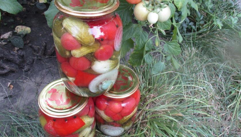 засолка огурцов с помидорами черри