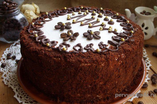 новогодний шоколадно-кофейный торт