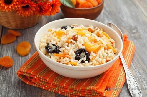 отварной рис с сухофруктами