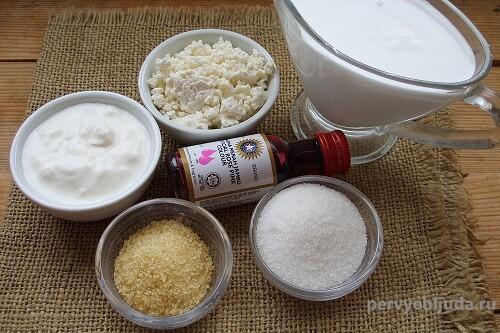 ингредиенты для творожного торта