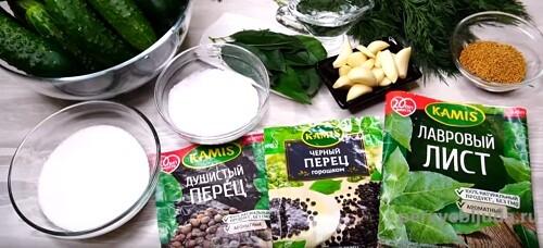 ингредиенты для заготовки огурцов на зиму