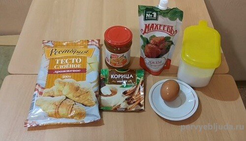 ингредиенты для слоек с джемом