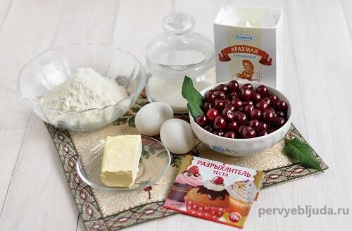 ингредиенты для песочного пирога с вишней
