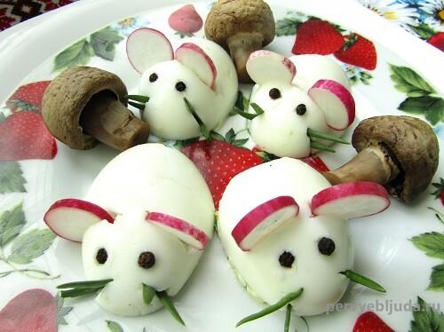 закуска мышата из вареных яиц