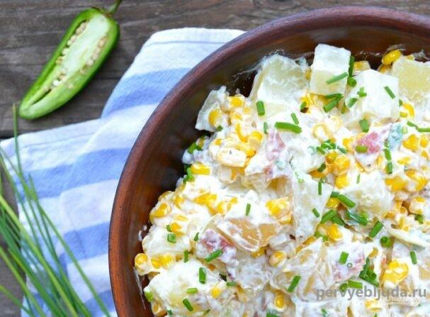 салат с кукурузой и картошкой