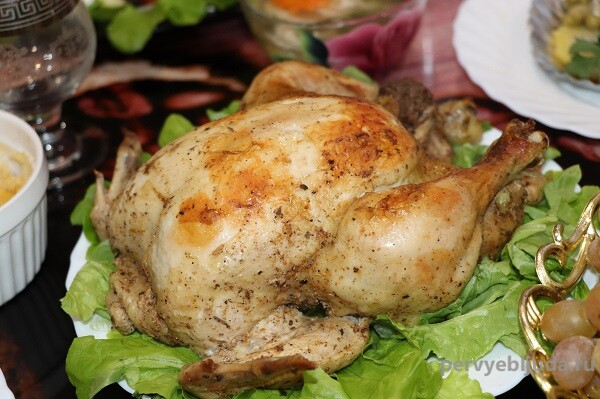 праздничная курица запеченная в рукаве