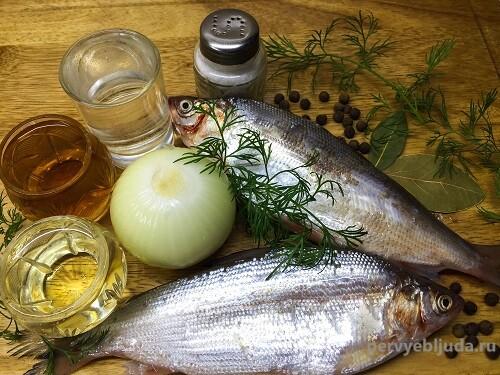 ингредиенты для маринования пеляди