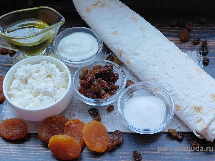 ингредиенты для приготовления трубочек из лаваша