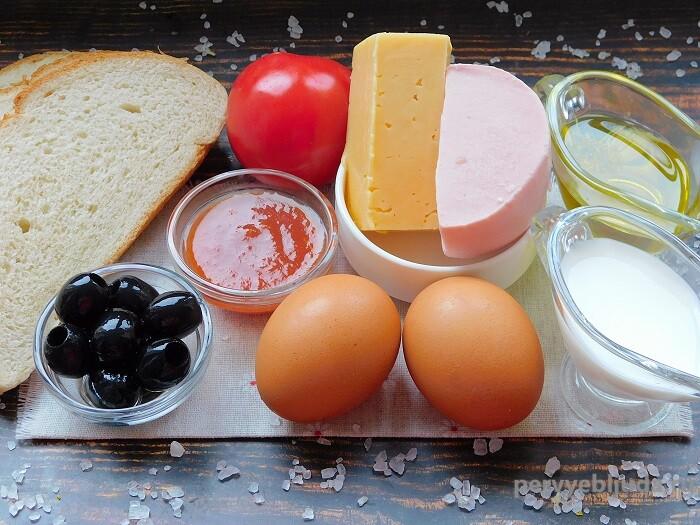 ингредиенты для пиццы из батона на сковороде