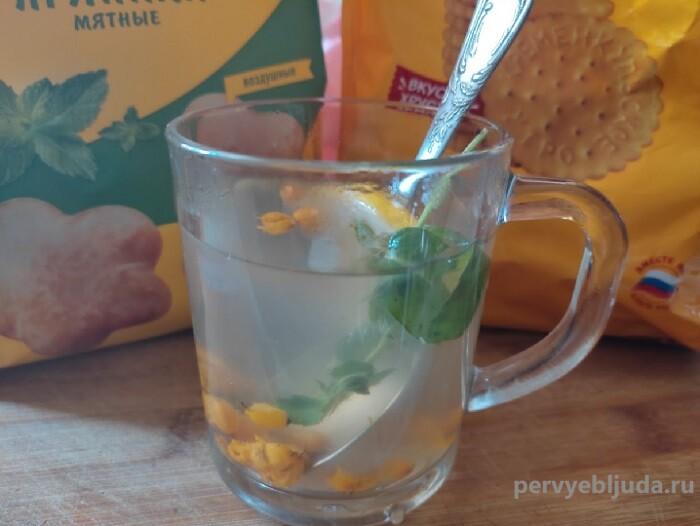 облепиховый чай с мятой и лимоном
