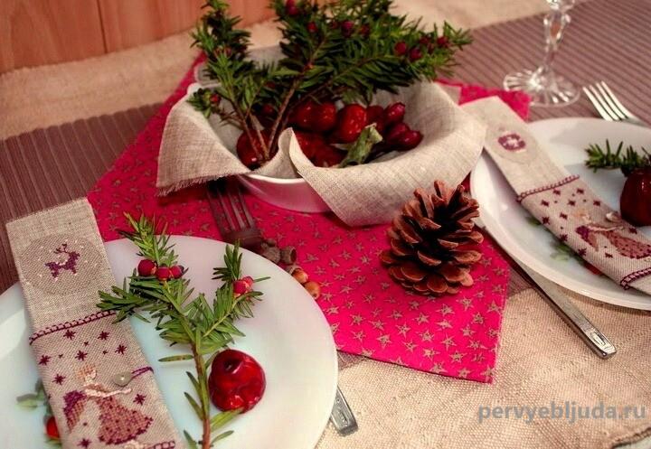 украшение новогоднего романтического стола