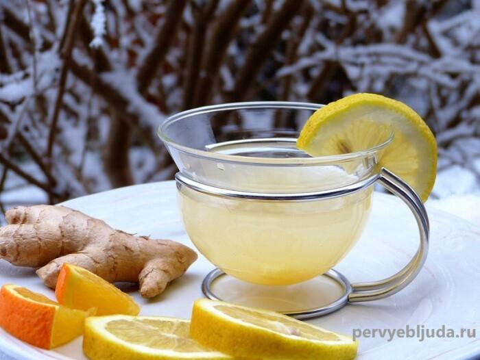 Полезный напиток- чай с имбирем и лимоном