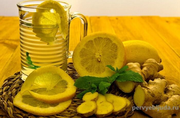 имбирный чай с лимоном и мятой