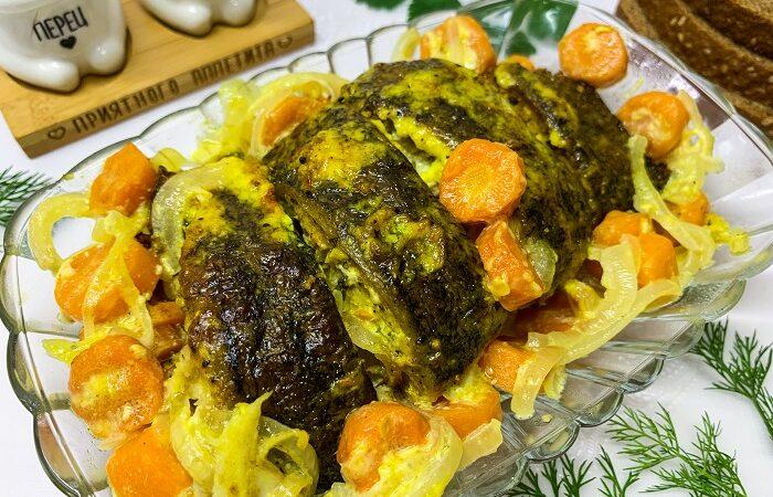 линь запеченный в духовке с овощами