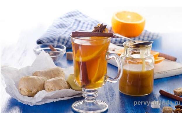 рождественский имбирный чай с лимоном