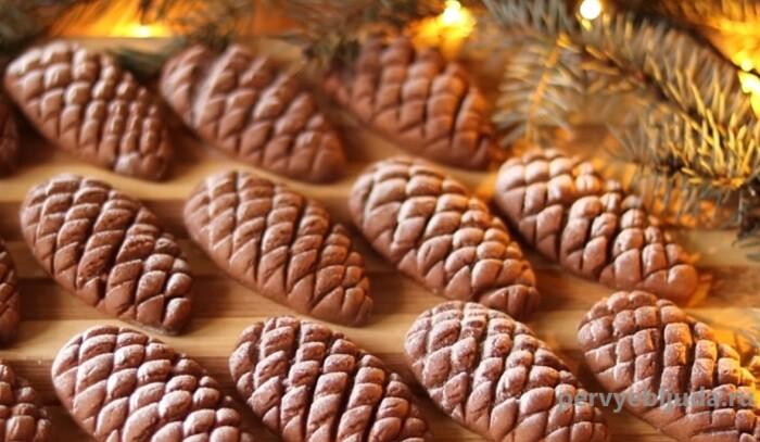 новогоднее печенье шишки